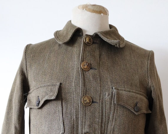 "Vintage 1950s 50s french brown grey pique corduroy hunting jacket 38"" chest work workwear chore"