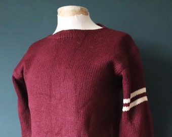 Vintage 1940s 40s American USA burgundy wool knitted varsity Ivy League style boat neck mod chenille patch jumper sweater cardigan knitwear