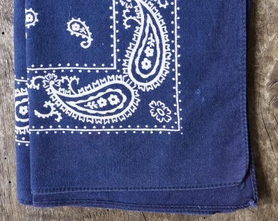 Vintage 1960s 60s cotton colourfast colorfast faded indigo blue bandana pocket square neckerchief rockabilly western cowboy