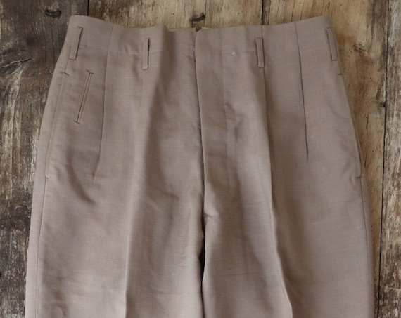 """Vintage 1950s 50s tan brown sand beige flecked v notch drop loop trousers pants cuffed button fly 30"""" x 27"""" rockabilly pleated"""