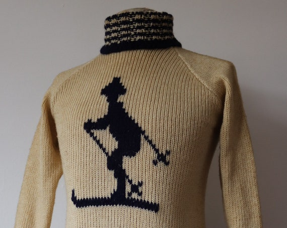 "Vintage 1940s 40s 1950s 50s handknitted white blue wool novelty ski jumper sweater handmade knitted 34"" 36"" 38"" chest knitwear rockabilly"