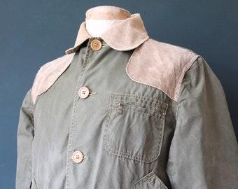 "Vintage 1960s 60s khaki green cotton sateen hunting work jacket workwear chore corduroy collar 48"" chest weatherproof Talon zippers"
