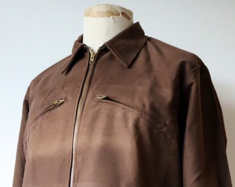 """Vintage 1960s 60s 1970s 70s french brown molskin zip up work chore jacket 43"""" chest workwear cropped cyclist resistance"""