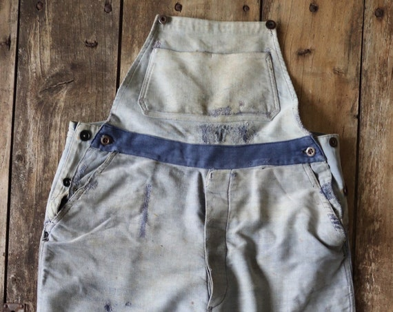 """Vintage 1940s 40s french moleskin faded blue indigo moleskin dungarees overalls workwear work chore repaired darned bleu de travail 35"""" 38"""""""