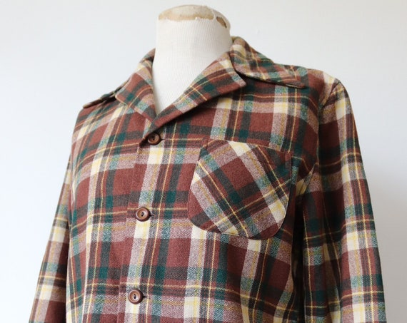 "Vintage 1960s 60s brown green checked plaid wool 49er Topster jacket rockabilly 44"" chest"