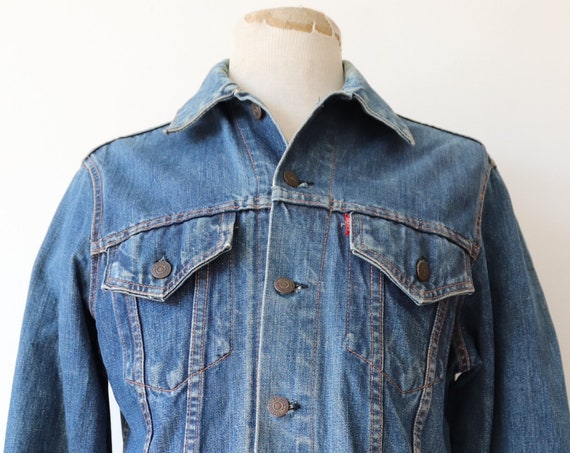"Vintage 1970s 70s Levis Levi Strauss denim trucker type three jacket capital big E red tab 41"" chest workwear"