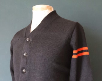 Vintage 1960s 60s American USA black wool knitted varsity Ivy League style rockabilly mod chenille patch jumper sweater cardigan knitwear