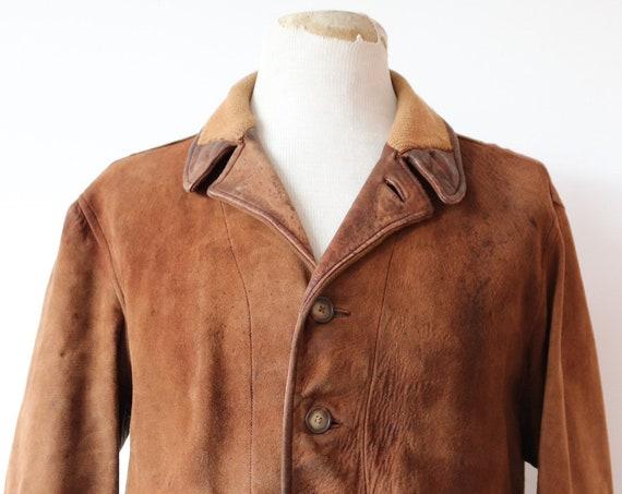 "Vintage 1940s 40s brown buckskin nubuck suede ricky jacket 45"" chest rockabilly knitted cuffs distressed"