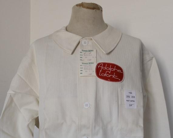 "Vintage 1960s 60s deadstock french white hbt herringbone cotton twill painters chore work jacket workwear 56"" chest XL XXL"