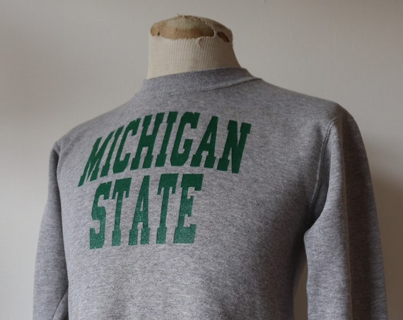 "Vintage 1980s 80s grey marl sweatshirt Michigan State print 36"" chest xs sportswear crew neck"