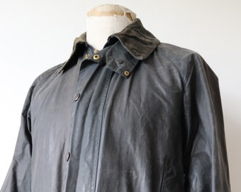 "Vintage 1980s 80s navy dark blue Barbour Beaufort waxed cotton jacket walking hiking 44"" chest made in England waterproof"