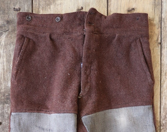 "Vintage 1930s 30s french brown wool patched repaired work chore trousers pants buckle cinch back 34"" x 26"""