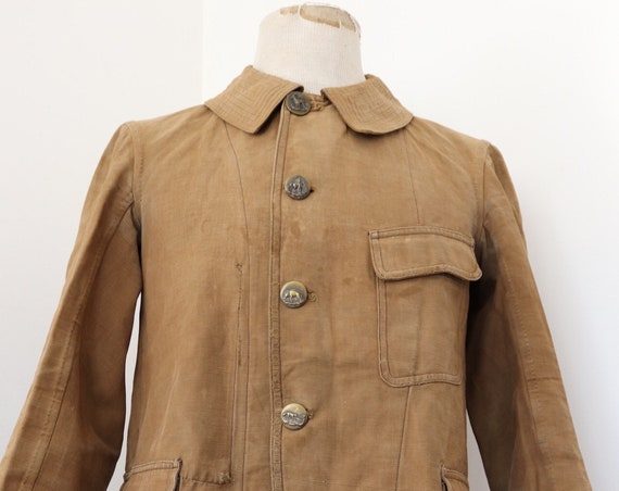 """Vintage 1910s 10s 1920s 20s antique french cutaway linen cotton tan brown hunting jacket 42"""" chest workwear chore work"""