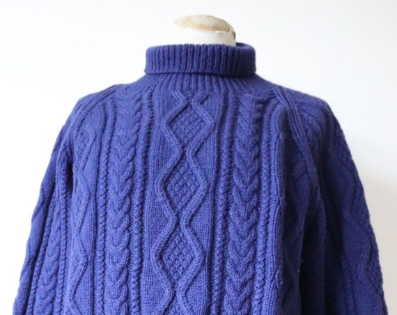 "Vintage 1970s 70s aran blue wool handknitted hand knit gansey fishermans jumper turtle roll neck sweater workwear 48"" chest unisex chunky"
