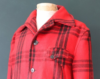 """Vintage 1940S 40s 1950s 50s JC Higgins red black buffalo plaid wool checked jacket 48"""" chest hunting mackinaw"""