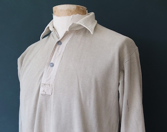 """Vintage 1940s 40s 1950s 50s Swedish army military undershirt thermal Henley waffle top underwear 44"""" chest"""