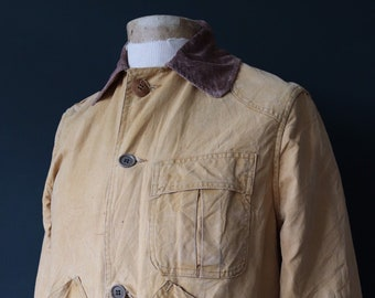 """Vintage 1940s 40s 1950s 50s JC Higgins tan brown duck cotton canvas hunting shooting jacket 45"""" chest work workwear chore"""