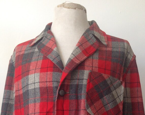 "Vintage 1960s 60s Pendleton 49er Topster jacket wool plaid checked red grey Ivy League style rockabilly 48"" chest"