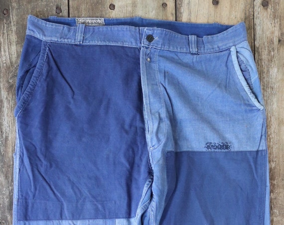 "Vintage 1950s 50s French cotton twill blue bleu de travail work chore pants trousers workwear patched darned repaired 40"" x 32"" xl faded"