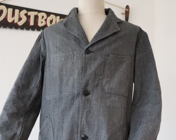 "Vintage 1960s 60s french grey salt and pepper long chore work coat jacket duster workwear 44"" chest"