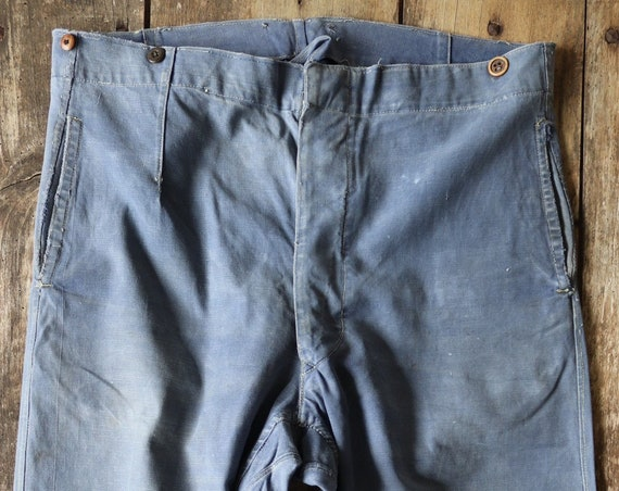 """Vintage  1940s 40s french sun faded indigo cotton twill work trousers pants workwear chore buckle cinch back suspender buttons darned 39"""""""