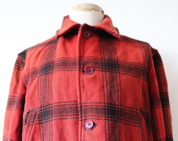 """Vintage 1950s 50s JC Higgins Sears Roebuck red black buffalo plaid wool hunting shooting jacket 46"""" chest flannel lined rockabilly"""