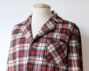 "Vintage 1960s 60s Pendleton plaid wool 49er Topster jacket 46"" chest checked Ivy League style mod rockabilly red green cream"