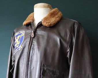 "Vintage 1960s 60s Star Sportswear USN US Navy Type G-1 G1 flight jacket mouton collar 47"" chest Tonkin Gulf Rampant Raiders VA 212 Vietnam"
