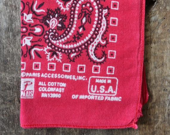 Vintage 1990s 90s faded turkey red paisley printed cotton bandana pocket square western cowboy rockabilly RN13960