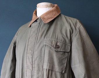 "Vintage 1950s 50s LL Bean khaki green cotton hunting shooting jacket work workwear chore Conmar zipper 48"" chest"