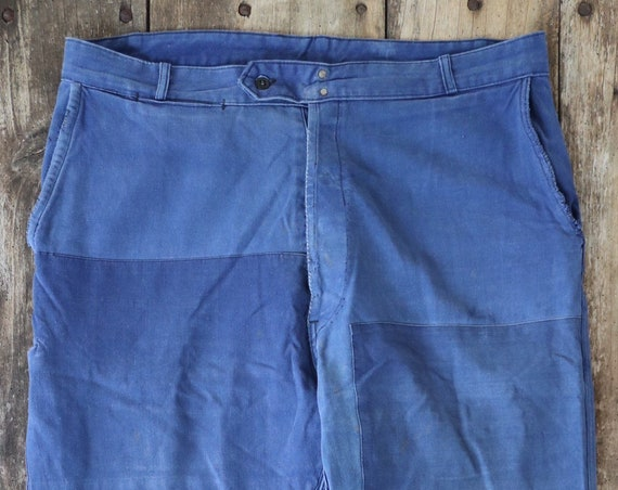"Vintage 1960s 60s French cotton twill blue bleu de travail work chore pants trousers workwear patched darned repaired 39"" x 31"" xl faded"