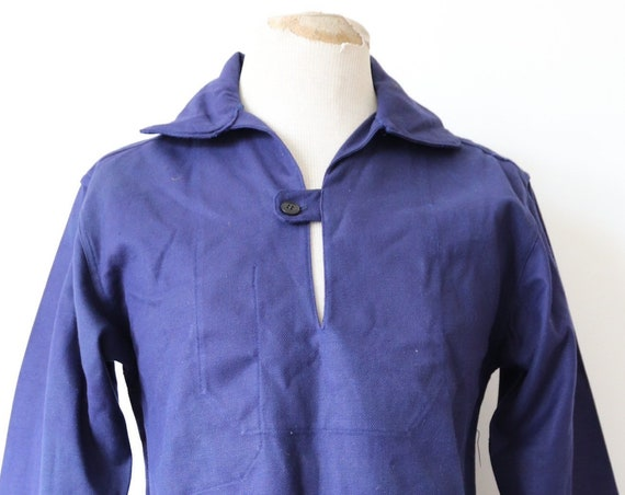 "Vintage 1970s 70s deadstock indigo blue french cotton twill smock pop over shirt work chore workwear sailing fisherman 41"" chest"