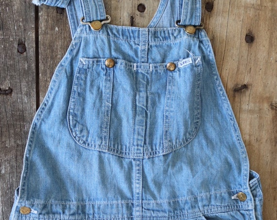 """Vintage blue denim Lee dungarees overalls bib and brace 32"""" x 36"""" workwear made in USA work chore rockabilly triple stitched"""