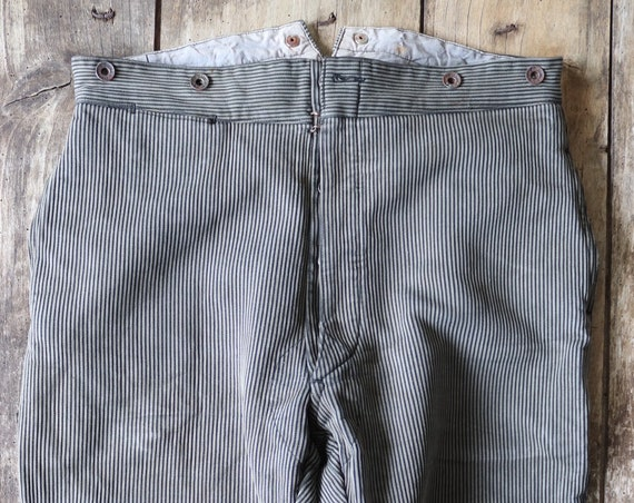 """Vintage 1940s 40s french grey pique striped hunting riding shooting breeches trousers pants 35"""" x 24"""" buckle cinch back"""