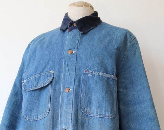 "Vintage 1970s 70s American blanket lined denim chore work prison jacket corduroy collar 48"" chest workwear"