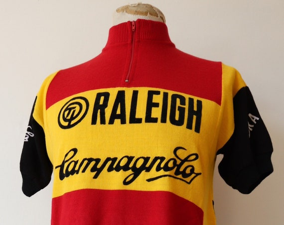 "Vintage 1970s 70s red yellow black Raleigh Campagnolo cycling race jersey shirt top 40"" chest made in Belgium quarter zip mod Tour de France"