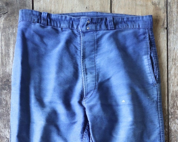 "Vintage 1960s 60s french blue indigo moleskin work trousers pants workwear chore Le Mont St Michel 33"" x 26"" button fly"