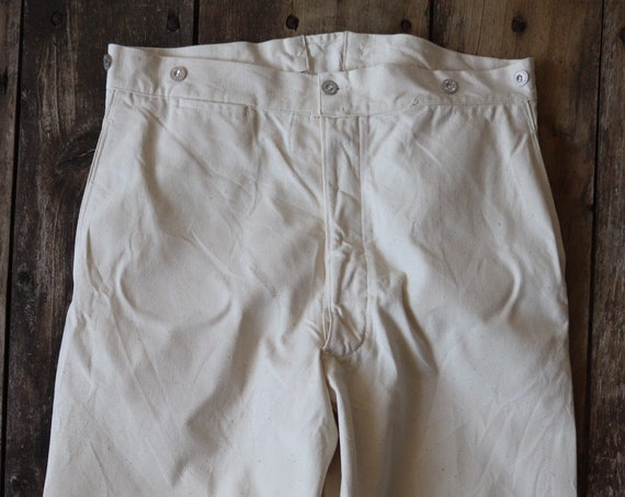 """Vintage 1940s 40s WW2 era deadstock french white cotton ecru twill buckle cinch back trousers pants 34"""" 35"""" 36"""" x 33"""" army military hospital"""