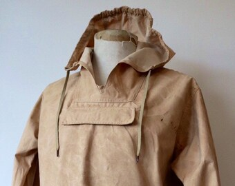 "Vintage 1940s 40s 1950s 50s french beige cream cotton canvas hiking walking mountaineering smock anorak drawstring 48"" chest workwear work"