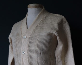 Vintage 1960s 60s American USA cream wool knitted varsity Ivy League style rockabilly mod C chenille patch jumper sweater cardigan knitwear