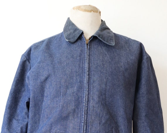 "Vintage 1960s 60s 1970s 70s Blue Bell denim blanket lined work jacket Talon zipper 50"" chest corduroy collar workwear chore"