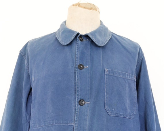 "Vintage 1960s 60s french indigo blue bleu de travail Marine Nationale navy naval work chore jacket workwear cotton twill 48"" chest"