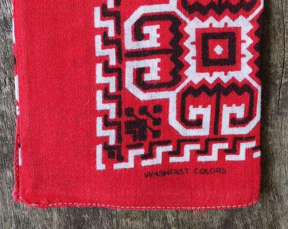 Vintage 1950s 50s cotton colourfast colorfast turkey red bandana pocket square neckerchief squash blossom rockabilly western cowboy