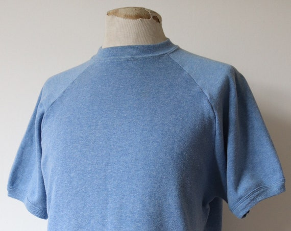 "Vintage 1970s 70s 1980s 80s pale blue marl short raglan sleeve sweatshirt 46"" chest sportswear 50/50"