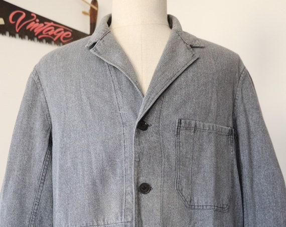 "Vintage 1940s 40s 1950s 50s Vetra french grey salt and pepper long chore factory coat duster jacket work workwear 45"" chest"