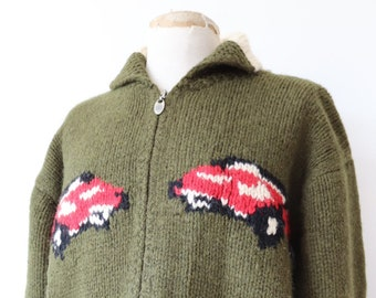"Vintage forest green white red handknitted knitted wool cowichan sweater cardigan zip up hot rod car shawl collar rockabilly 46"" chest"