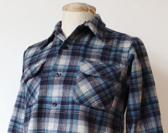 "Vintage 1980s 80s Pendleton grey blue plaid checked wool board shirt 41"" chest flap pocket tartan"