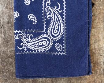 Vintage 1990s 90s indigo blue paisley printed cotton bandana pocket square western cowboy rockabilly made in USA