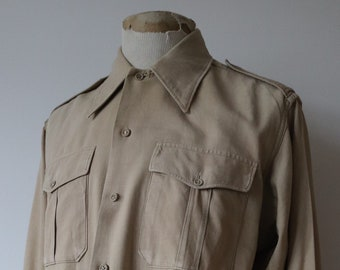 """Vintage 1950s 50s french tan brown khaki army military utility dress shirt repaired darned 46"""" chest european"""