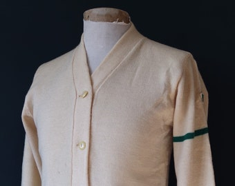 Vintage 1950s 50s American USA cream wool knitted varsity Ivy League style rockabilly mod N chenille patch jumper sweater cardigan knitwear